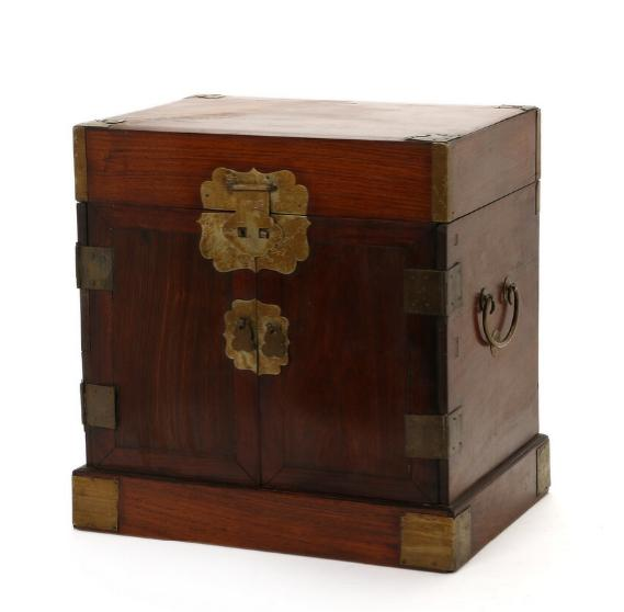 Chinese wood cabinet with metal mountings