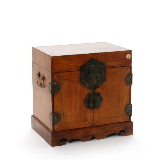 Chinese wood box with metal mountings