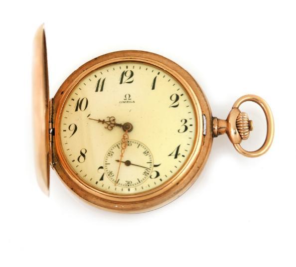 Omega 14k gold hunter cased pocket watch