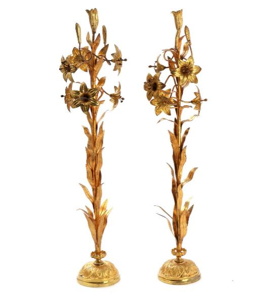 A pair of 20th century gilt metal altar ornaments in the shape of flowers