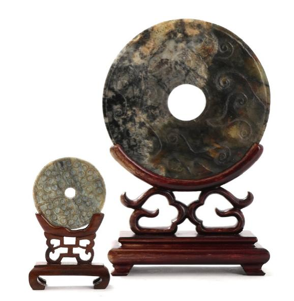 Two chinese jade and stone bi discs