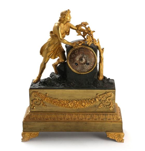 A 19th century French patinated and gilded bronze mantel clock by Japy