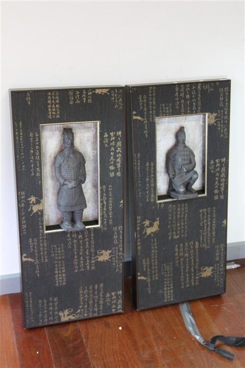 Terracotta Pair of Framed Figures