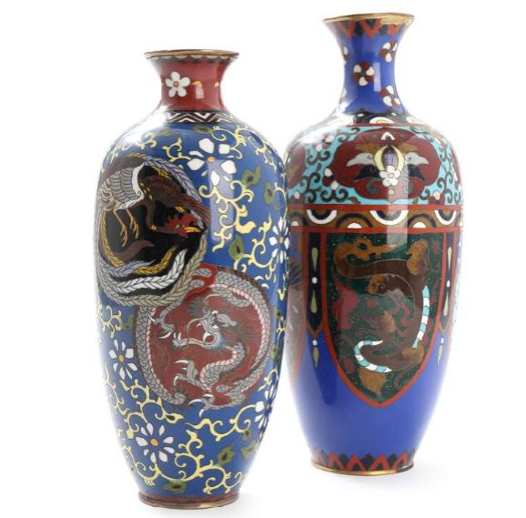 Two cloisonné on copper vases, decorated with dragons, Phoenix and ornamentation
