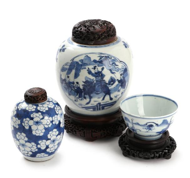 Chinese porcelain bowl and two lid jars, decorated in blue with figures and prunus on breaking ice