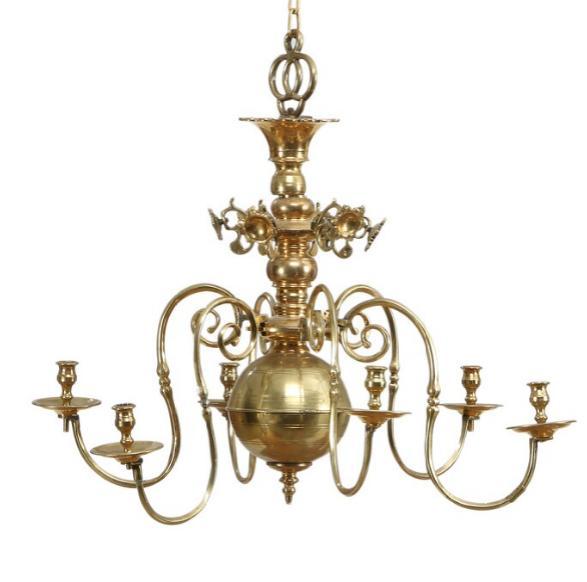 A five-light baroque brass chandelier