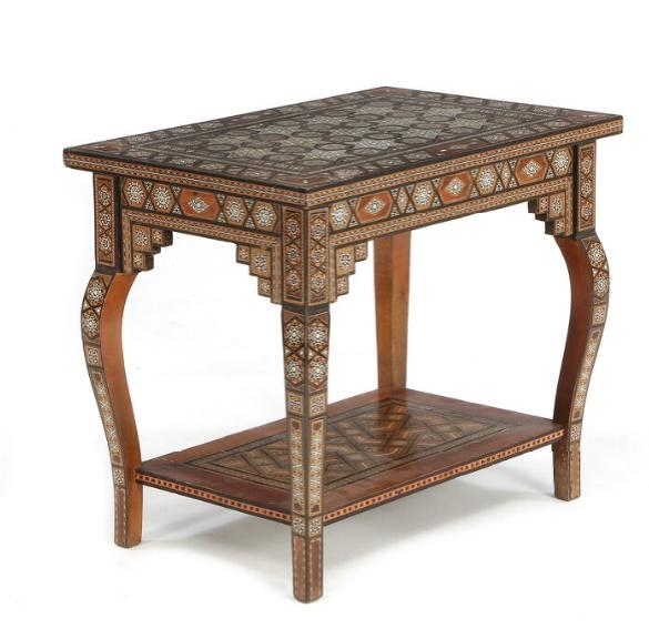 A rectangular Syrian occasional table with bone and mother-of-pearl inlays