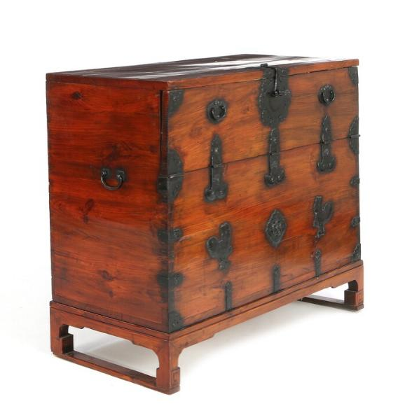 A large Korean pinewood chest