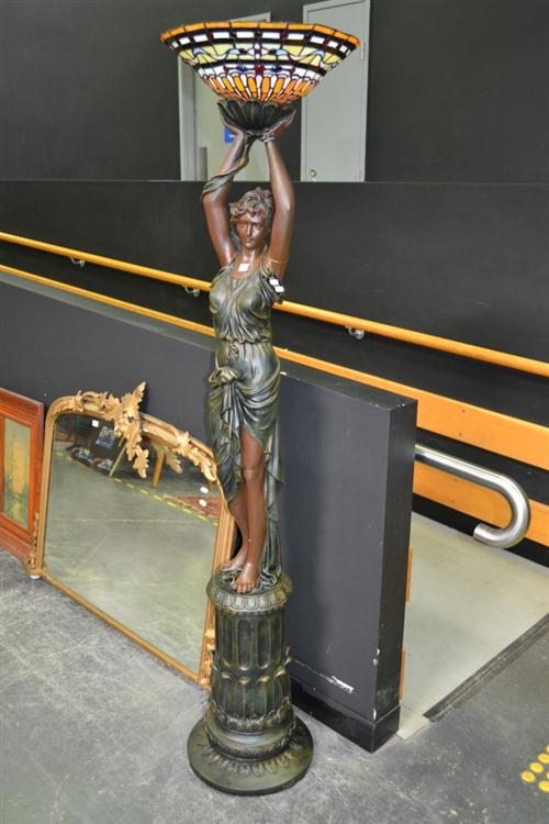 Tall Bronze Style Lady Figure Up Lamp with Leadlight Shade