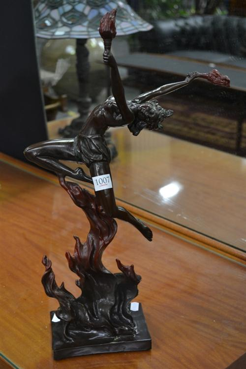Cast Metal Figure of a Fire Dancing Lady - Signed Lower Right