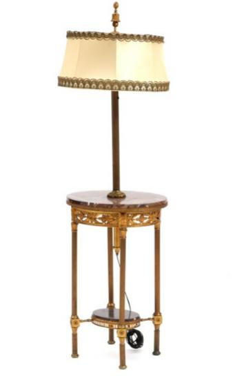 An early 20th century French bronze lamp table with reddish marble top