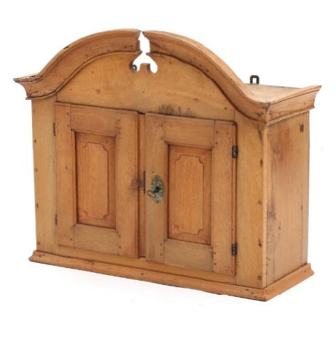 An 18th century oak wall cabinet, front with two doors