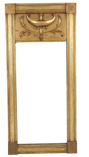 A large French Empire giltwood mirror
