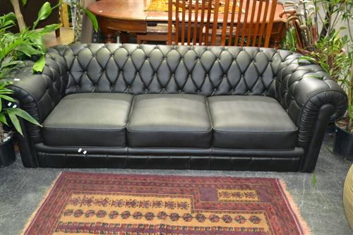 Black 3 Seater Chesterfield Style Lounge