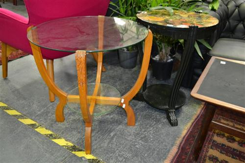 Glass Top Side Table Together With A Decoupage Top Table