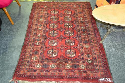 Persian Turkoman Carpet With three Rows Of Guls