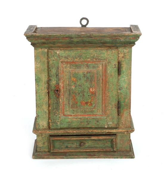 A red- and green-painted Danish baroque wall cupboard