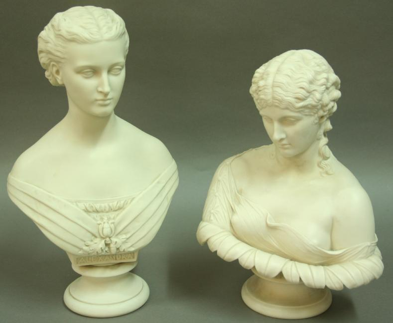 ALEXANDRA AND CLYTIE, TWO COPELAND PARIAN BUSTS