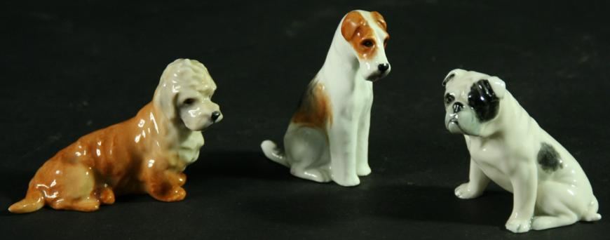 THREE ROYAL WORCESTER DOGS