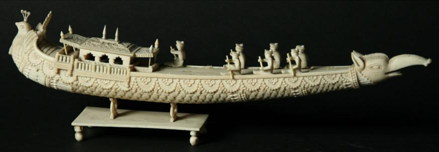 A THAI IVORY MODEL OF A PLEASURE BARGE