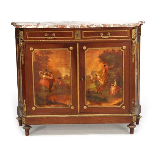 A Louis XVI style mahogany meuble d'Appui with gilt bronze mountings and marble top