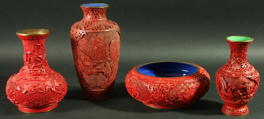 A CHINESE CINNABAR LACQUER VASE