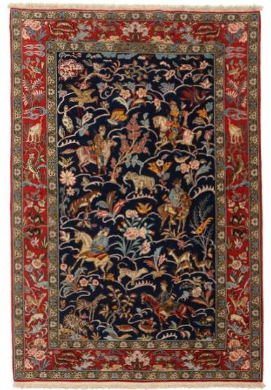 A Persian 20th century Qum hunting rug, embellished with horseriding hunters, exotic animlas and birds on blue base