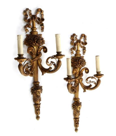 A pair of large Louis XI style gilt bronze wall brackets