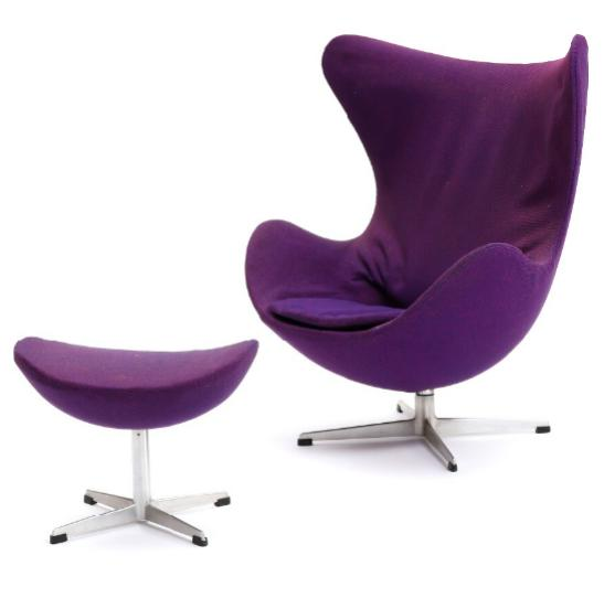 """""""The Egg Chair"""". Easy chair and matching stool"""