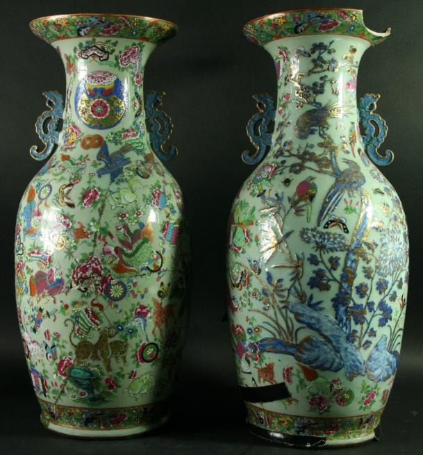 A PAIR OF CHINESE CANTON VASES