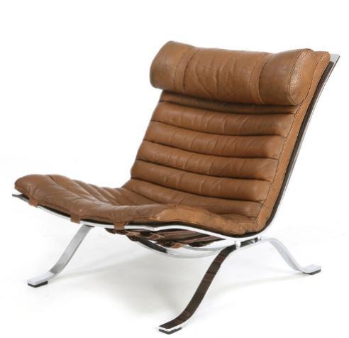 """Ari"". Easy chair with frame of chromed steel"