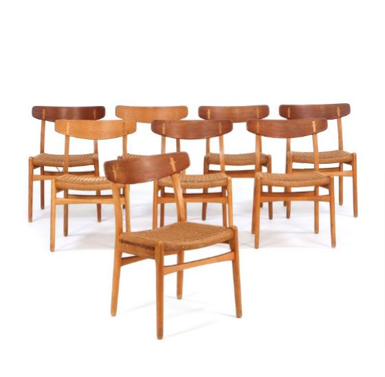 Set of eight chairs of beech/oak and back of teak/oak. Seat with woven papercord
