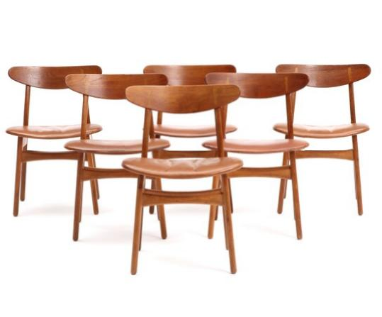 """""""CH 30"""". A set of six oak chairs, laminated teak backs with inlays"""
