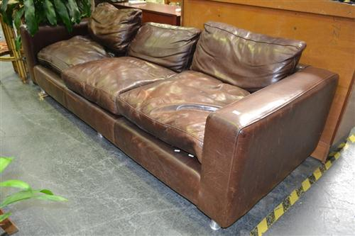Leather Three Seater Lounge - Repair to Leg