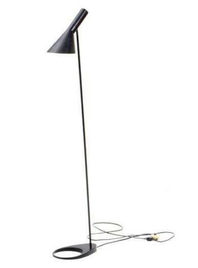 """""""AJ"""". A black lacquered metal standard lamp with adjustable shade"""