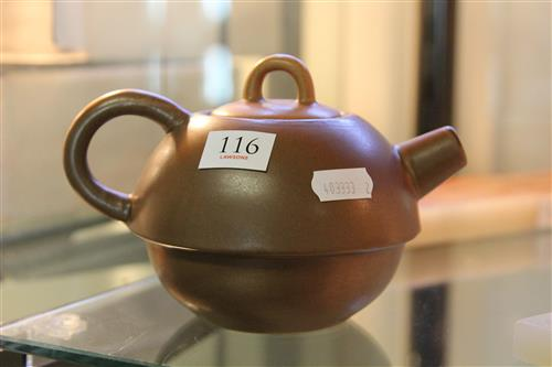 Chinese Soy Sauce Glaze Teapot