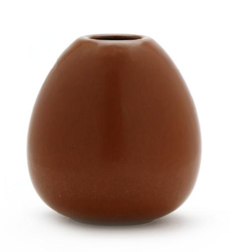 Stoneware vase decorated with red brown glaze with light brown elements. Numbered 131