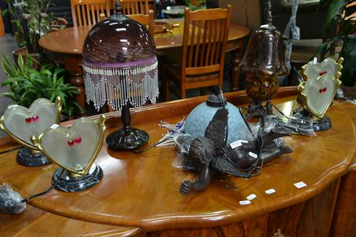 Set of 4 Heart Shaped Table Lamps & 3 Others (7)