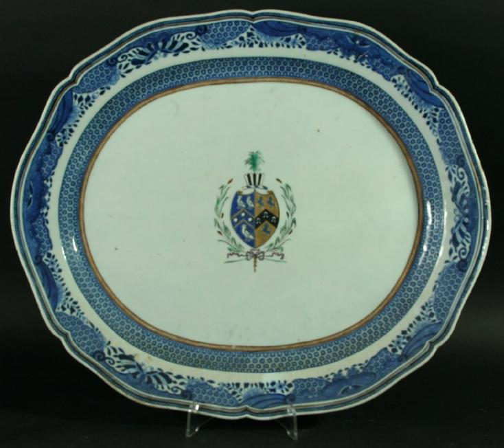 THREE CHINESE EXPORT ARMORIAL PLATTERS