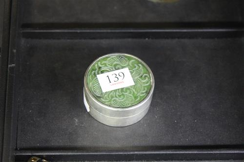 Chinese Jade & Sterling Silver Box and Cover