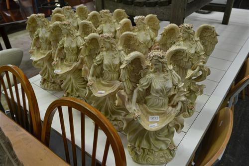 Set of 8 Composite Angel Figures