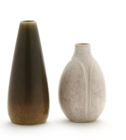 Two stoneware vases. One decorated with greyish white glaze, numbered 195