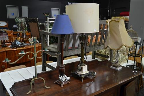 Two Gilt & Marble Table Lamps and Candle Holder