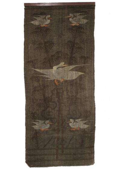 A Nepal flad woven textile, design of cranes