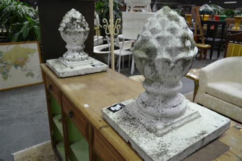 Pair Of Concrete Acorn Finishes