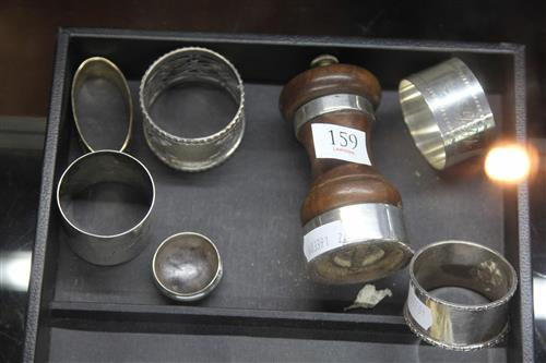 English Sterling Silver Napkin Rings with Other Silver Wares Incl Pepper Shaker