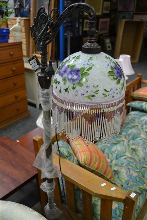 Art Glass Beaded Hanging Shade Standard Lamp