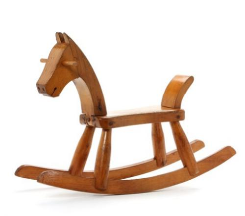 A lacquered beech rocking horse. No visible stamp