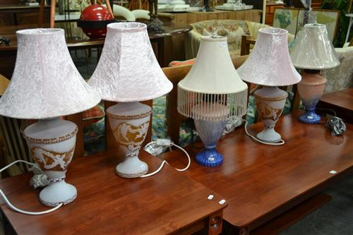 3 Glass Urn Form Table Lamps & Pair of Art Glass Table Lamps (5)