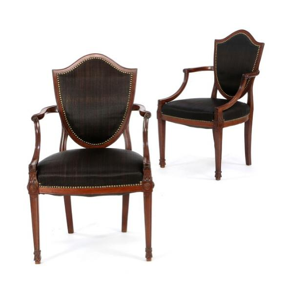 A pair of Adam style mahogany armchairs